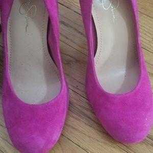 Jessica Simpson magenta suede pink heels/pumps